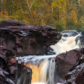 temperance river by Bill Frische - Landscapes Waterscapes ( duluth, minnesota, rock, temperance, river )