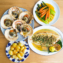 Photo: Dover sole with brown shrimp butter, scallop seaweed butter, baby jerseys with bottarga and Sorrento lemon, asparagus and carrots in orange butter