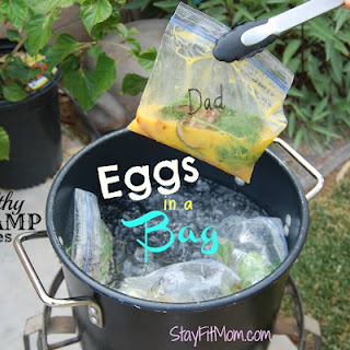Eggs in a Bag; Healthy Camp Breakfast.