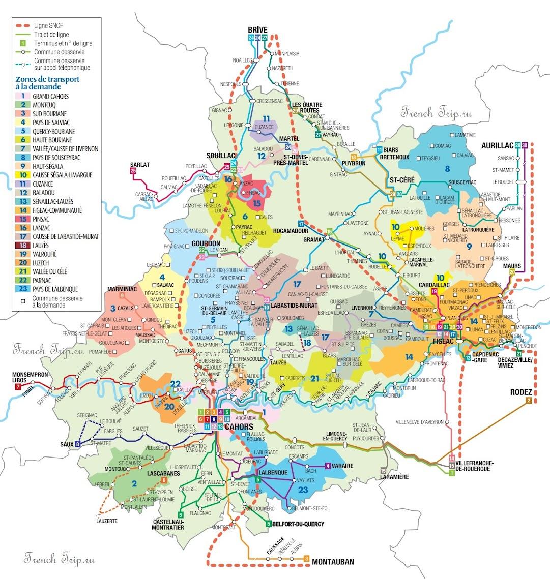 Схема маршрутов автобусов в департаменте Лот - Как добраться на автобусе в Фижак /Figeac, Миди-Пиренеи, Франция - расписание автобусов по региону Миди-Пиренеи, департаменту Лот. Схема маршрутов автобусов