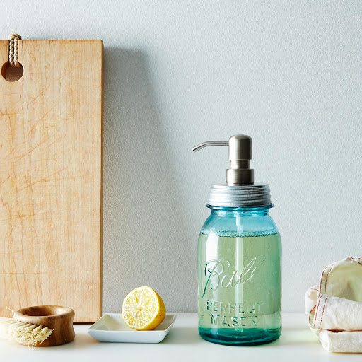 Vintage Blue Mason Jar Soap Dispenser