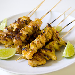 Curried Chicken Skewers with Lime-Apricot Glaze.