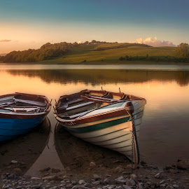 The White Lake  by Willie Forde - Landscapes Waterscapes ( ireland, sunset, boats, westmeath, lake )