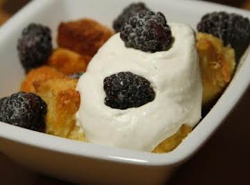 Meyer Lemon & Blackberry Bread Pudding with Meyer Lemon Whipped Cream
