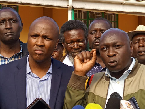 North Rift MPs Sila Tiren (Moiben), Alfred Keter (Nandi Hills) and Joshua Kuttuny (Cheranganyi) address the press after holding a meeting with farmers in Eldoret town on maize prices, Saturday, November 17, 2018. /MATHEWS NDANYI