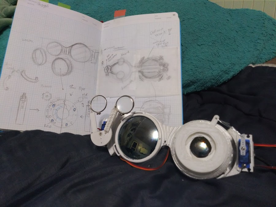 A pair of articulating steampunk googles powered by Arduino switches