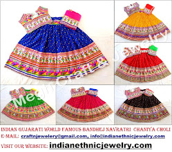 Photo: BANDHEJ CHANIYA CHOLI-APPROX SIZE: Height of Skirt (chaniya) -40''inch/Skirt flared size (width )-140''inch/The skirt has both sided (front & back) embroidery work./Size of Blouse : Regular (free size)