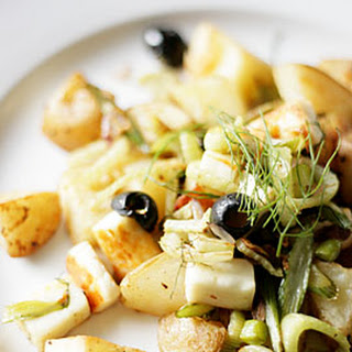 Fennel, Haloumi And Olive Salad With Roast Potatoes.