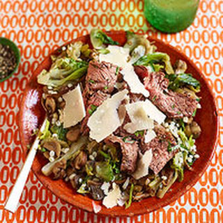 Warm Pearled Barley & Mushroom Salad with Sliced Flank Steak.