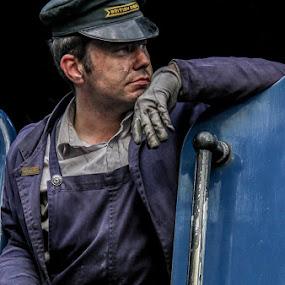British Rail train driver by Andrew Lancaster - People Portraits of Men ( model, dirty, rail, train, portrait, man, hat,  )