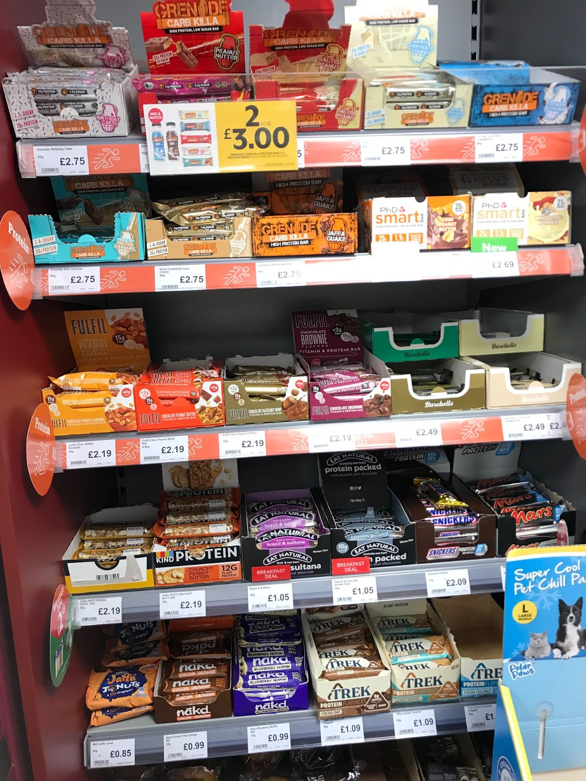 protein bars on sale in petrol station