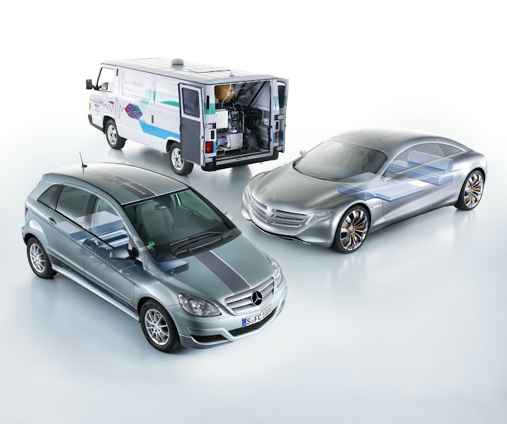 Photo: Nearly 20 years ago, Mercedes-Benz pioneered the experimental NECAR 1: a zero-emissions hydrogen fuel cell vehicle. It ran by converting compressed hydrogen into electricity used to power the vehicle's electric motor. Now, the hydrogen-powered B-Class F-CELL is capable of traveling 240 miles at a time, getting the equivalent of nearly 90 mpg on the highway while emitting nothing but water vapor.   Learn more: http://mbenz.us/KlgTMx  European model shown.