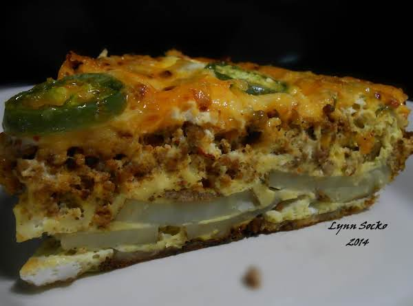 This One Was Made With Potatoes, Taco Meat, Eggs And Spicy Cheese.
