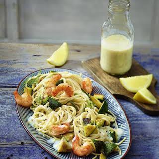 Shrimp and Zucchini Pasta with Lemon Sauce.