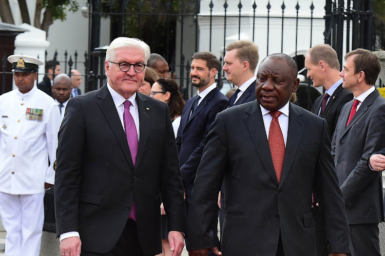 Cyril Ramaphosa, right, and Frank-Walter Steinmeier at the Tuynhuys, Cape Town, on November 20 2018. Picture: GCIS/KOPANO TLAPE