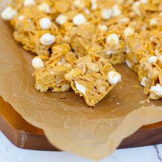 Chewy Peanut Butter Marshmallow Cereal Bars.