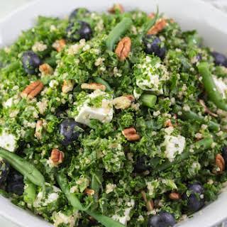 Kale Quinoa Salad with Blueberries, Green Beans, Feta & Pecans.