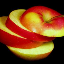 SLICED APPLE by Karen Tucker - Food & Drink Fruits & Vegetables ( apple, fruit, sliced apple, healthy food, colourful )