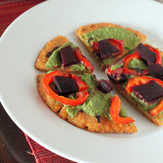 Quinoa Oat Flat bread Mini Pizza with Spinach hummus, Roasted Beets and Red bell pepper. vegan glutenfree, gumfree