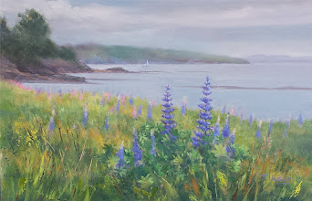 "Photo: Lupines on Penobscot Bay, 14x20"" oil, $600"