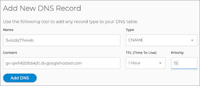 The CNAME record has been entered into the fields of the Add New DNS Record pane.