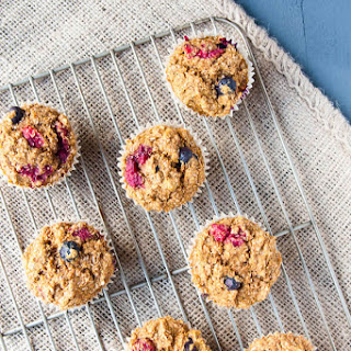 Healthy Double Berry Bran Muffins.