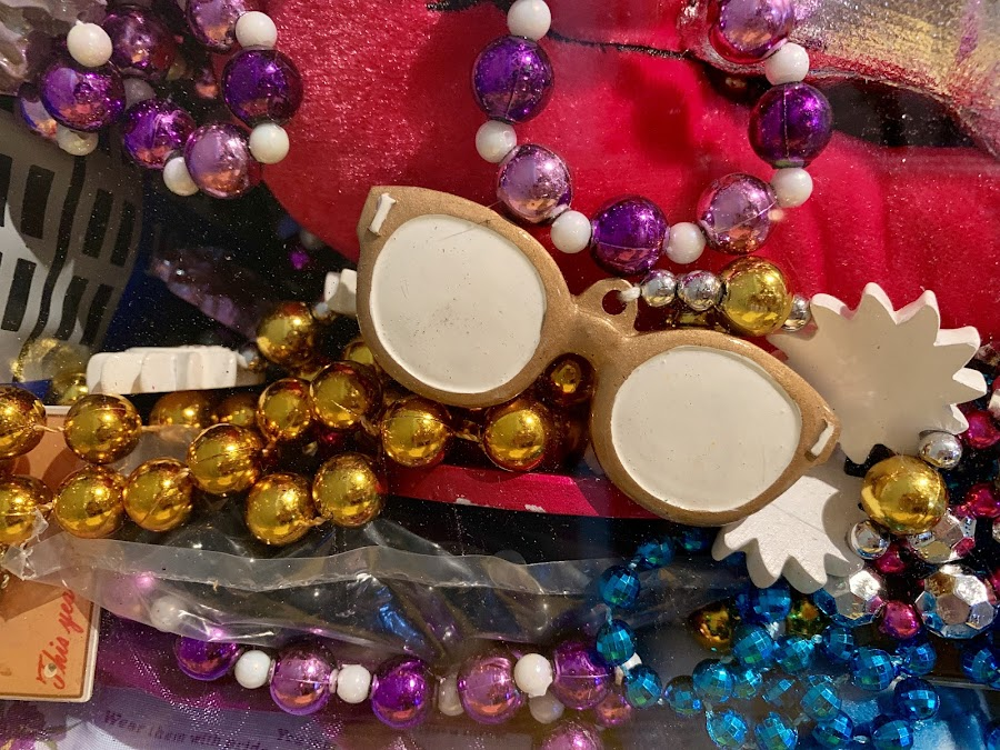 Mardi Gras Fun by Lorna Littrell - Artistic Objects Clothing & Accessories ( macro, trinkets, beads, abstract, whimsical, colors )
