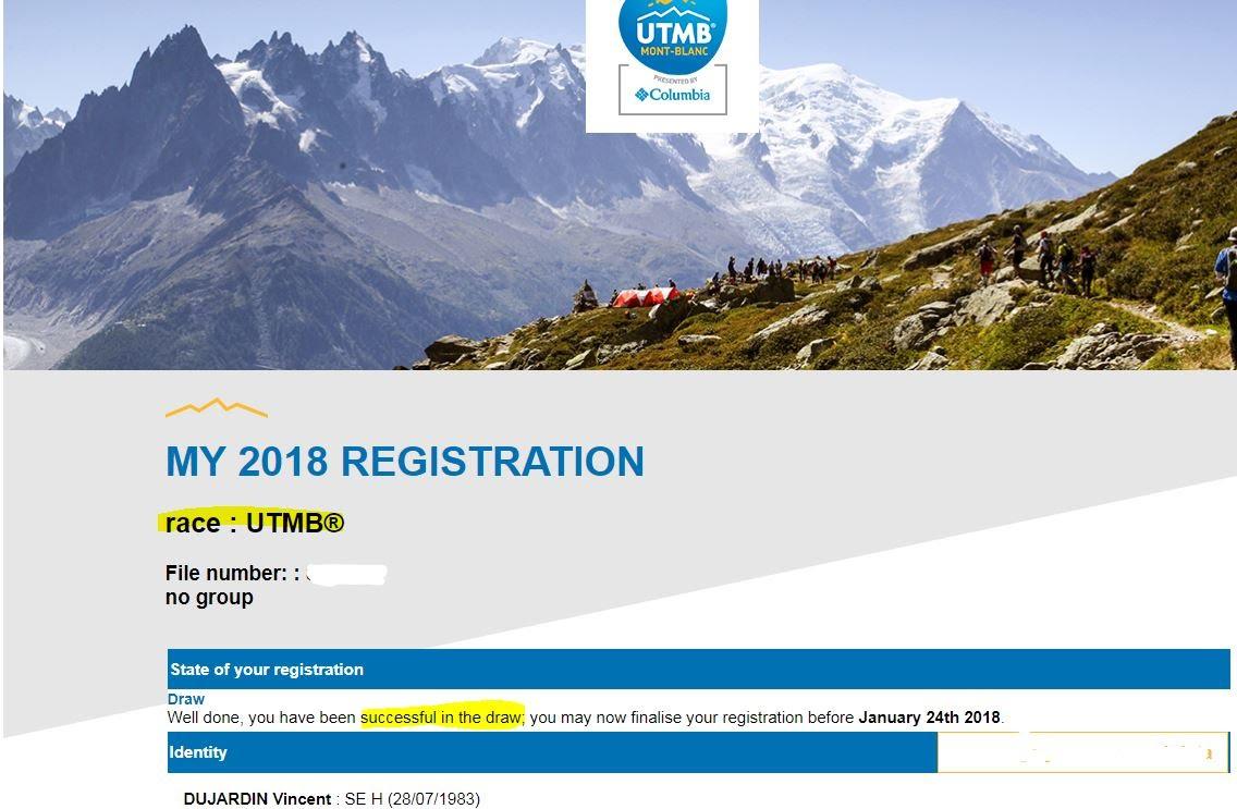 Jeudi 11 Janvier 2018: Fin du suspense..., UTMB 2018 i'm coming!! dans trail