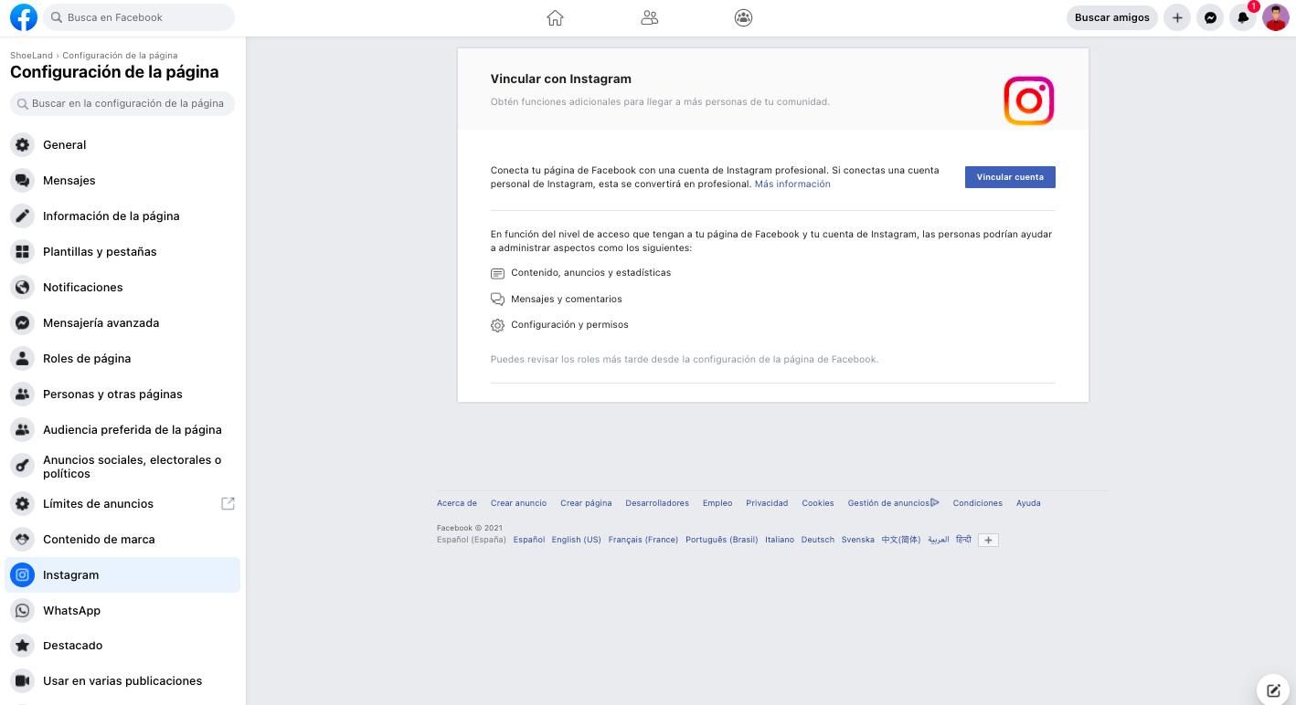 Vinculación con Facebook