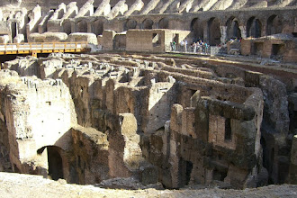 Photo: The maze of walls, compartments and elevator shafts under the floor of the Colosseum
