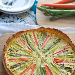 Sunburst Spring Vegetable Quiche with Puff Pastry.