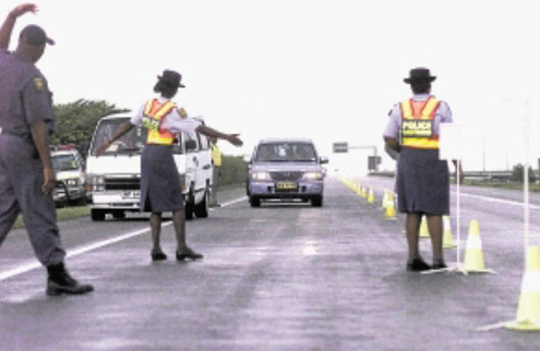 Police and traffic officers check cars and taxis on the N3 near Heidelberg during an operation.