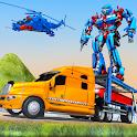 US Police Train Transporter Truck Robot Stunt Game icon