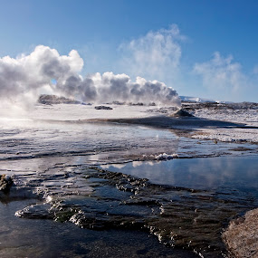 Hveravellir by Þorsteinn Ásgeirsson - Travel Locations Landmarks ( winter, sky blue, fumarolees, smoking, hofsjökull, langjökull, glaciers, lake, highlands, boiling water. summer, hveravellir, geothermal areas )