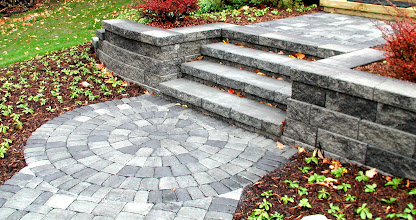 Photo: Standard Versa-Lok Steps (Shale Grey) Roman Cobble Paving Stones (Antique Grey) http://northernlightslandscapecontractors.com