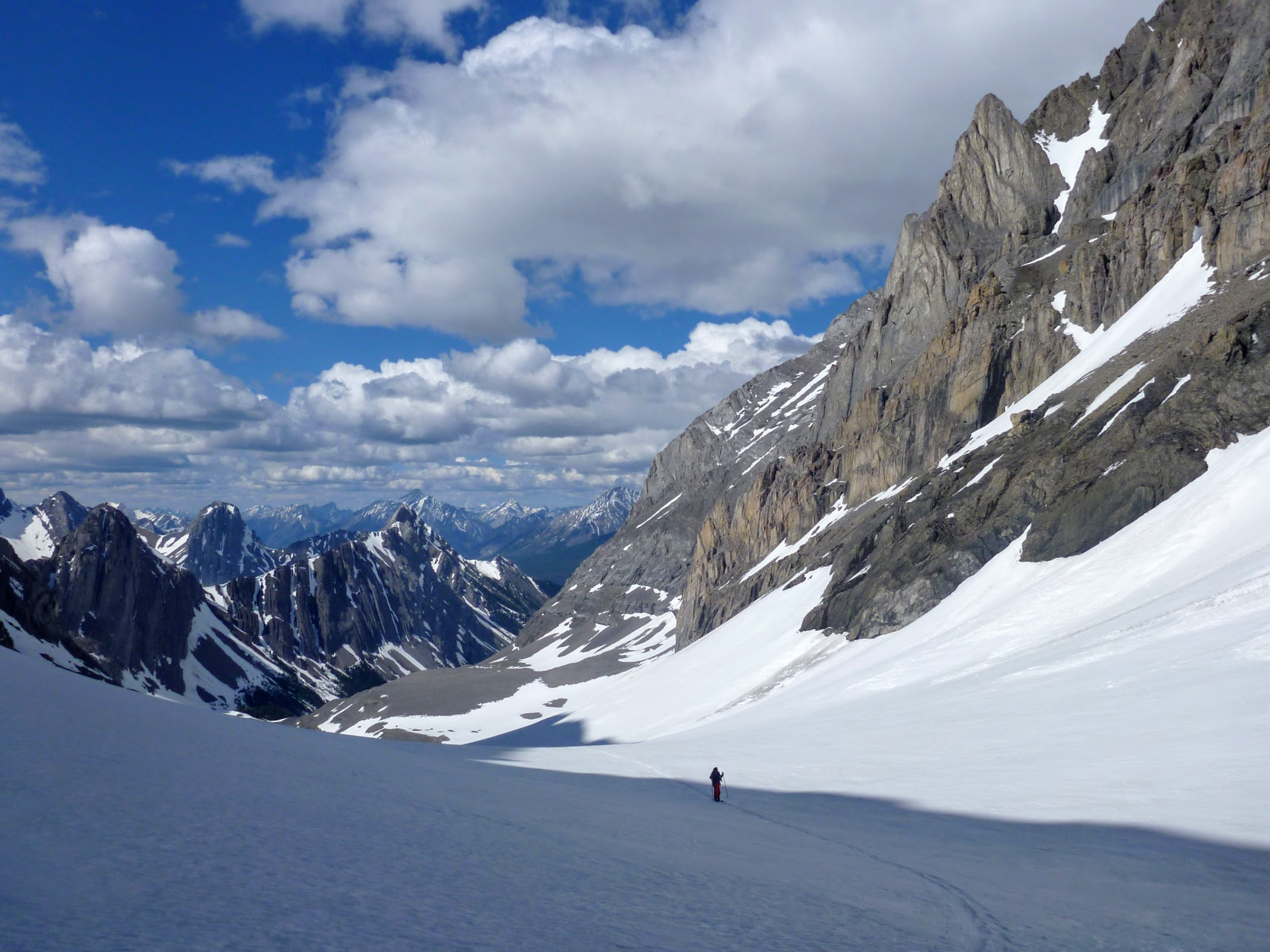 Skiing up the French Glacier