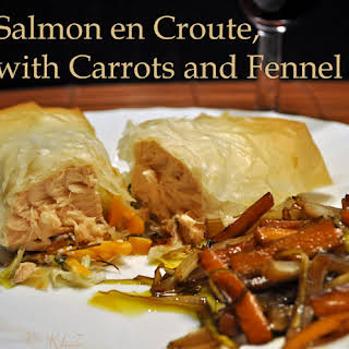 Salmon en Croute, with Carrots and Fennel.