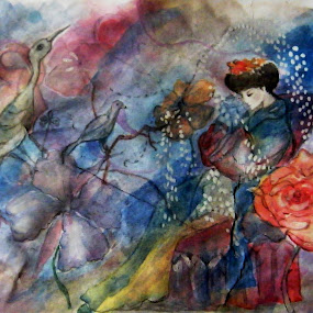 by Vesna Disich - Painting All Painting ( vesna disich, blue, watercolors, unique, lady, japonese, aquarell )