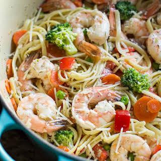 One Pot Shrimp Pasta Primavera.