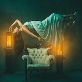Levitation by Sean Malley - Digital Art People ( art, gothic, beauty, white dress, furniture, sexy, brunette, model, antique, levitation )