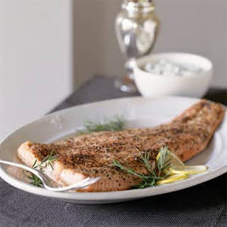 Pepper-Roasted Salmon With Mustard-Herb Cream Sauce.