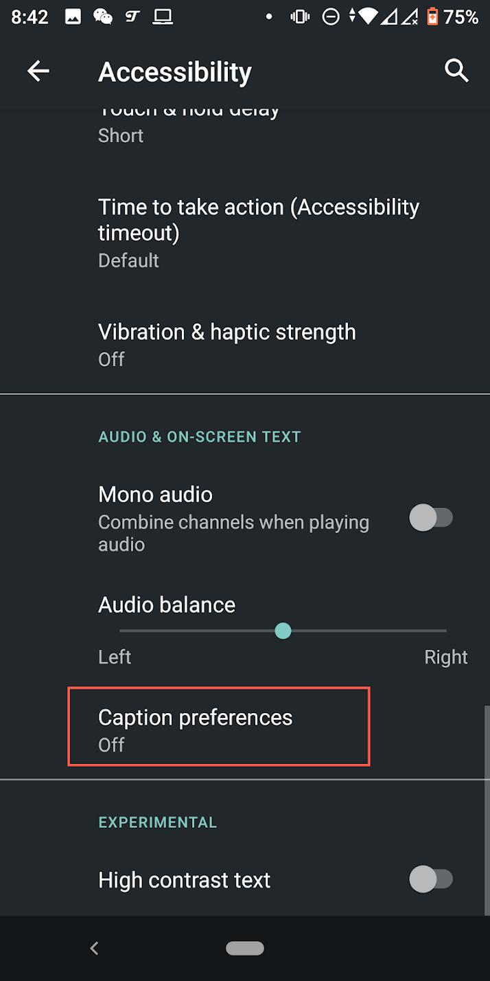 Caption Preferences option