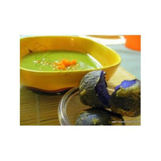 Split Pea Soup With Baby Purple Crusted Baked Potatoes.