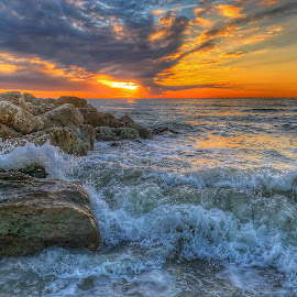 Captiva Sunset by Lorna Littrell - Landscapes Waterscapes ( surf, waterscape, sunset, orange sky, landscape, nature photography, sea )