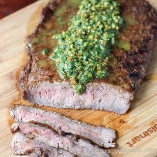 Indian Spiced Flank Steak with a Cilantro Pistachio Pesto.