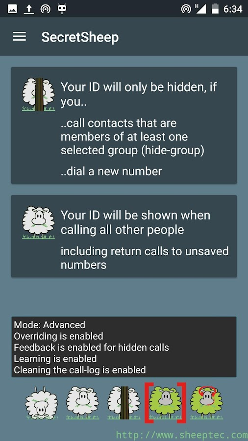 SecretSheep - hide caller ID- screenshot