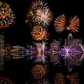 Celebration - Fire works by Senthil Damodaran - Public Holidays Other ( fireworks reflections, city, night, lights )