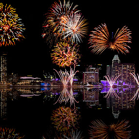 Celebration - Fire works by Senthil Damodaran - Public Holidays Other ( fireworks reflections, city, night, lights )