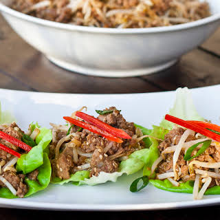 Easy Asian Style Turkey and Beef Lettuce Wraps.