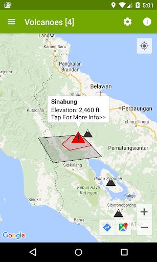 火山 - マップ アラート 地震や灰の雲との情報